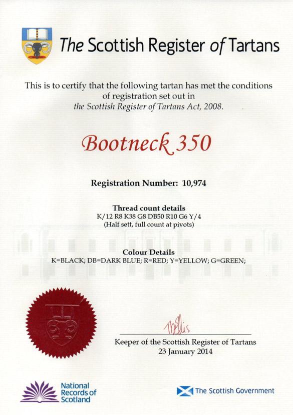 Authentic Bootneck 350 Tartan Certificate